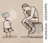 cartoon man watching the rodin... | Shutterstock . vector #1022164996
