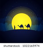 camels in the desert night ... | Shutterstock .eps vector #1022165974