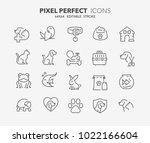 Stock vector thin line icons set of pets and veterinary outline symbol collection editable vector stroke 1022166604