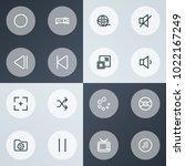 multimedia icons line style set ... | Shutterstock .eps vector #1022167249