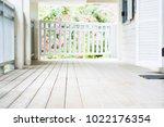 empty white wooden floor and...   Shutterstock . vector #1022176354