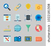 icons about seo with ranking ... | Shutterstock .eps vector #1022181508