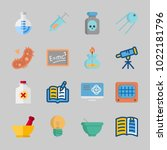 icons about science with flask  ... | Shutterstock .eps vector #1022181796