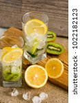 cocktail with kiwi and mint in... | Shutterstock . vector #1022182123