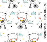 vector seamless pattern of cute ... | Shutterstock .eps vector #1022183278