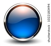 button blue glossy  shiny... | Shutterstock .eps vector #1022183494