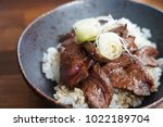 rice with wagyu sliced beef in... | Shutterstock . vector #1022189704