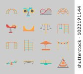 icons about amusement park with ... | Shutterstock .eps vector #1022191144