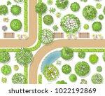 seamless pattern. park top view.... | Shutterstock .eps vector #1022192869