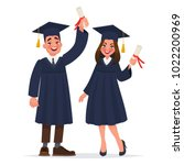 couple of graduates with... | Shutterstock .eps vector #1022200969
