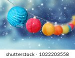 colorful round lampions light... | Shutterstock . vector #1022203558