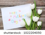 bouquet of tulips for happy... | Shutterstock . vector #1022204050