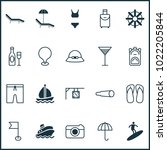 travel icons set with swim suit ... | Shutterstock . vector #1022205844