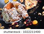 fruit cake dessert fig and... | Shutterstock . vector #1022211400