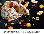 cake fig and almond nuts and... | Shutterstock . vector #1022212384