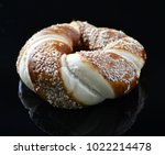 jewish bagel with sesame on... | Shutterstock . vector #1022214478