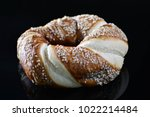 jewish bagel with sesame on... | Shutterstock . vector #1022214484