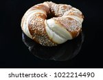 jewish bagel with sesame on... | Shutterstock . vector #1022214490