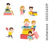 set of kids  boys and girls ... | Shutterstock .eps vector #1022216329