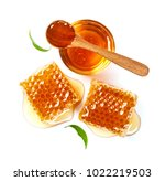 honeycomb and honey in glass... | Shutterstock . vector #1022219503