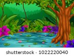 forest scene with lake | Shutterstock .eps vector #1022220040