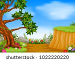 forest scene with mountain cliff | Shutterstock .eps vector #1022220220