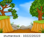 forest scene with mountain cliff | Shutterstock .eps vector #1022220223