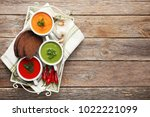 vegetable cream soup with... | Shutterstock . vector #1022221099