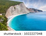 famous porto katsiki beach with ... | Shutterstock . vector #1022227348