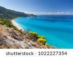 pefkouliai beach with beautiful ... | Shutterstock . vector #1022227354