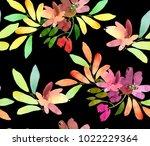 seamless spring watercolor... | Shutterstock . vector #1022229364