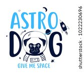 hand drawing dog and space... | Shutterstock .eps vector #1022230696