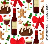 christmas seamless pattern with ... | Shutterstock .eps vector #1022231554