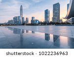 shenzhen skyline at dusk and no ... | Shutterstock . vector #1022236963