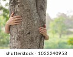 love nature concept  woman give ... | Shutterstock . vector #1022240953