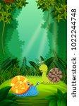 vector illustration of snail in ...   Shutterstock .eps vector #1022244748