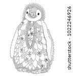 baby penguin. hand drawn... | Shutterstock .eps vector #1022246926