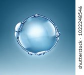 big water air bubble on a blue... | Shutterstock . vector #1022248546