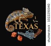 embroidery wild west  revolver... | Shutterstock .eps vector #1022250340