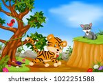 vector illustration of tiger ... | Shutterstock .eps vector #1022251588