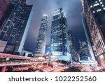 nighttime cityscape of hong... | Shutterstock . vector #1022252560