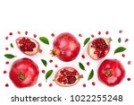 pomegranate with leaves... | Shutterstock . vector #1022255248
