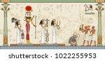 murals with ancient egypt scene ... | Shutterstock .eps vector #1022255953