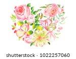 botanical illustration  heart... | Shutterstock . vector #1022257060