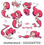 set of cute cartoon mermaids | Shutterstock .eps vector #1022265733
