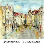 street in the old town  art... | Shutterstock . vector #1022268286