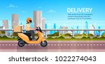 delivery service  man courier... | Shutterstock .eps vector #1022274043