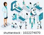isometry medicine  woman doctor ... | Shutterstock .eps vector #1022274070