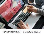 shopping online concept. woman... | Shutterstock . vector #1022274610