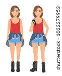millenial girl in street...   Shutterstock .eps vector #1022279953